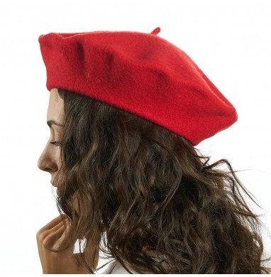 Beret BRERA red wool