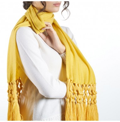 Scarf IRIS yellow 70% wool...