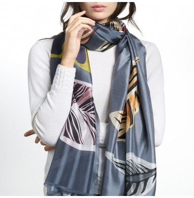 Stole LUZ grey silk