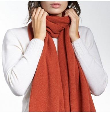 Stole LIFE brick red cashmere