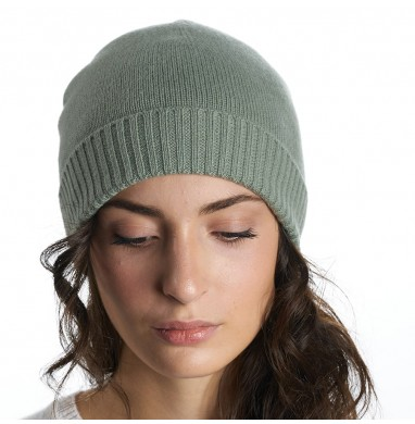 Knitted Hat LIFE sage cashmere