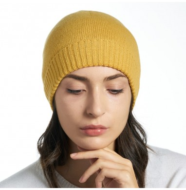 Knitted hat LIFE mustard...
