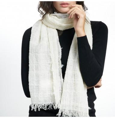 Scarf GAUZE white wool blend