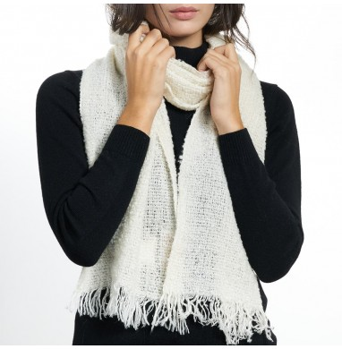 Scarf BOUCLE' white wool blend