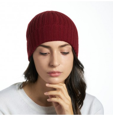 Hat GOLD wine red cashmere