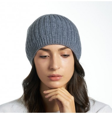 Hat SILVER dark grey cashmere