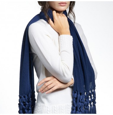 Scarf IRIS blue 70% wool...