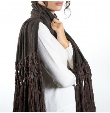 Scarf IRIS brown 70% wool...