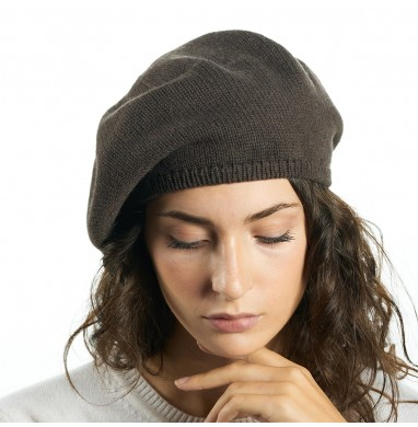 Beret RASO brown 70% wool...