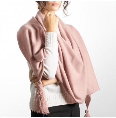 Poncho OLGA pink cashmere
