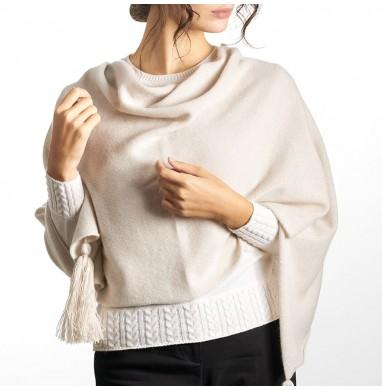 Poncho OLGA beige in cashmere