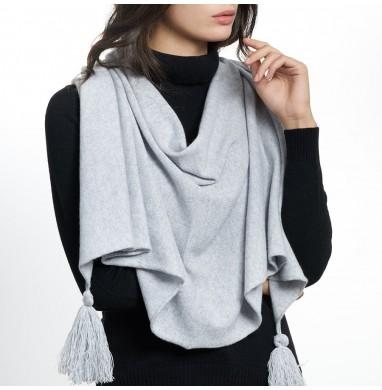 Poncho OLGA grey cashmere